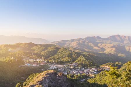 high angle viewpoint tropical rainforest mountains in sunset over Ban I-Tong, Pilok, Thong Pha Phum. Kanchanaburi, Thailand border between thai -  myanmar.