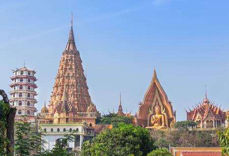 Landscape view of wat tham sua public buddhist thai temple in kanchanaburi, Thailand