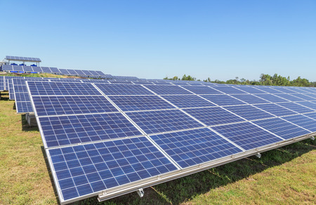 Close up rows array of solar cells or photovoltaics in solar power station convert light energy from the sun into electricity alternative renewable clean energy from the sun Stock fotó