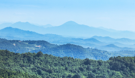 High angle landscape view over rainforest mountains at Phu Ruea National park Loei Thailand.