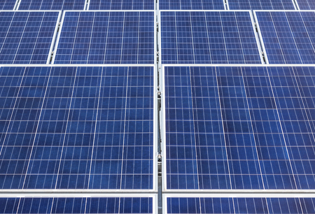 Close up rows array of polycrystalline silicon solar cells or photovoltaic cells in solar power plant Reklamní fotografie