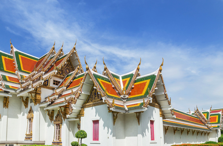 Wat Phra Si Mahathat woramahawihan Bang Khen, Bangkok Thailand architecture traditional temple thai style on blue sky