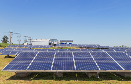 rows array of polycrystalline silicon solar cells or photovoltaic cells in solar power plant station Reklamní fotografie