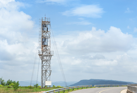 Vertical Axis Wind Turbine generator tower in wind power station at Thailand