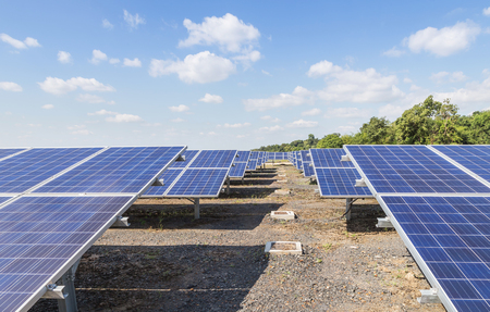 rows array of polycrystalline silicon solar cells or photovoltaic cells in solar power plant turn up skyward absorb the sunlight from the sun alternative renewable energy energy efficiency