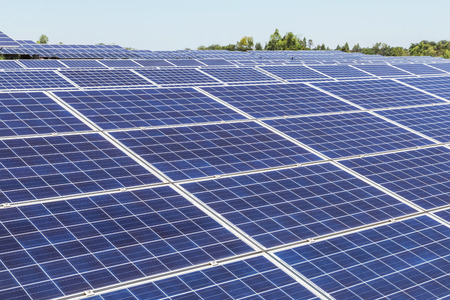 Close up rows array of polycrystalline silicon solar cells or photovoltaics cell in solar power plant
