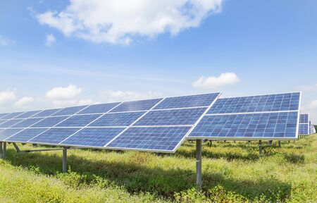 Solar panels or solar cells or photovoltaics in solar power station is power production technology renewable green clean energy energy efficiency from the sun