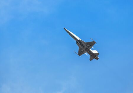 fighter jet military aircrafts flying with high speed on blue sky