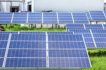 polycrystalline silicon solar cells or photovoltaics cell in solar plant station convert light energy from the sun into electricity alternative renewable energy efficiency from the sun