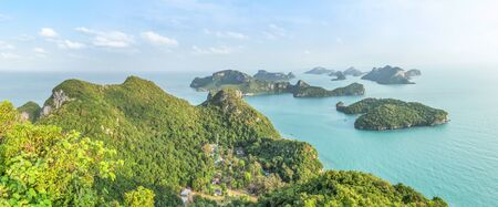 Panorama aerial  landscape view group of Angthong islands national marine park from Pha Jun Jaras view point at Wua Ta Lap island Surat Thani, Thailand in the morning