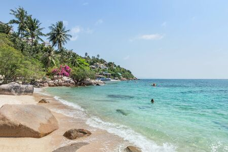 Landscape view of Koh Tao Island beach or Turtle Island under blue sky in summer day Koh Tao Island is popular famous tourist attractions in the gulf of Thailand, Surat Thani, Thailand