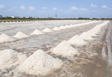 piles of raw white sea salt in the salt farm samut songkhram province, Thailand on sunny day 免版税图像