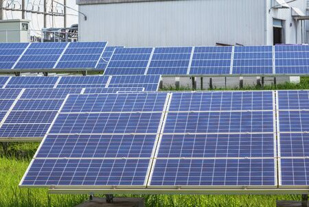 rows array of Solar panels or solar cells or photovoltaics in solar power station is power production technology renewable green clean energy energy efficiency from the sun
