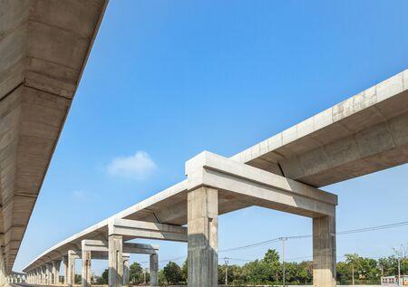 Architecture curve intercity motorway Nakhon Ratchasima Bangpa In to Korat MotorWay in Thailand  during construction under blue sky 免版税图像