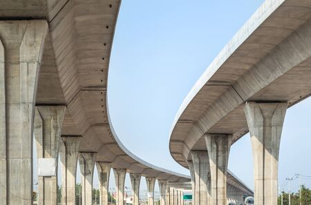 Architecture curve intercity motorway Nakhon Ratchasima Bangpa In to Korat MotorWay in Thailand  during construction