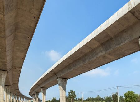 Architecture curve intercity motorway Nakhon Ratchasima Bangpa In to Korat MotorWay in Thailand  during construction under blue sky Stockfoto