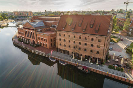 Gdansk aerial view, city panorama in the morning with Polish Baltic Philharmonic Editorial