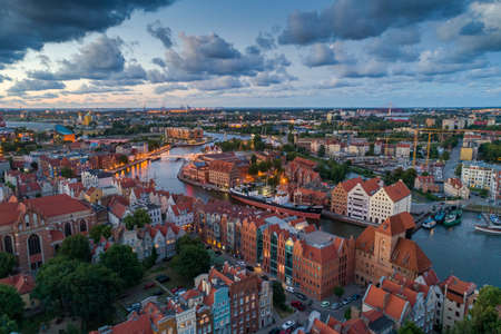 Gdansk aerial view, city panorama in the evening
