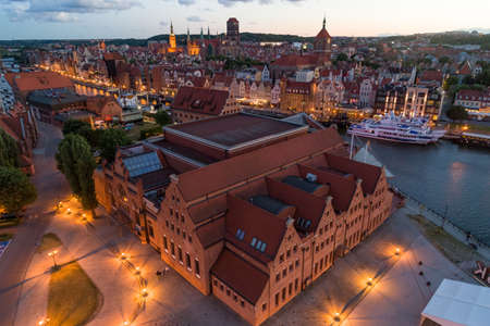 Gdansk aerial view, city panorama in the evening with the Polish Baltic Philharmonic