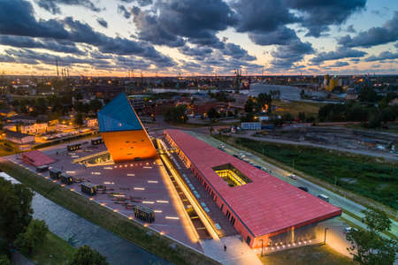 Gdansk aerial view, city panorama in the evening with the Museum of WWII