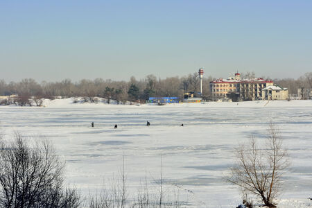 the dnieper: Winter landscape. View of the Dnieper.
