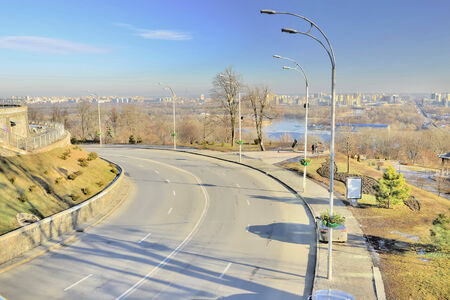 dnieper: View of the street on the slopes of the Dnieper Stock Photo
