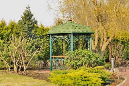 gazebo: Beautiful gazebo in landscaped park Stock Photo