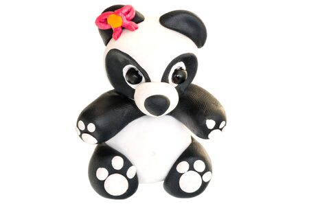 figurine: Panda figurine made of polymer clay on a white background