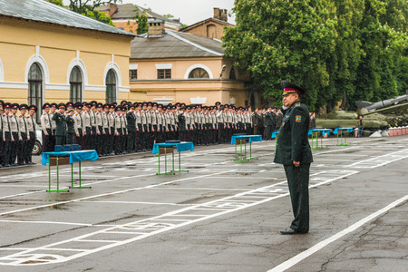 KYIV, UKRAINE - May 26, 2017: Students of the Kiev military lyceum of Ivan Bohun take part in the celebrations dedicated to the end of the academic year. Editorial