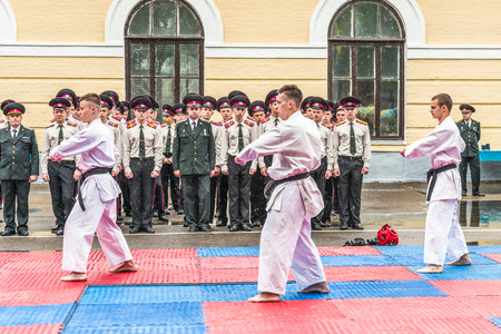 KYIV, UKRAINE - May 26, 2017: Ceremony on the occasion of the end of the academic year in the Kiev military lyceum of Ivan Bohun. Martial arts.