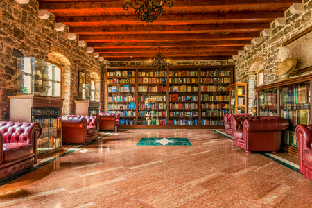 BUDVA, MONTENEGRO - august 18, 2017: The Library in the Citadel of the Old Town of Budva. Of the 9th-century fortification was used to protect the city from the sea.