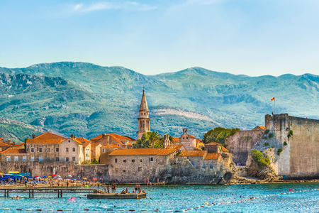 Budva, Montenegro - August 18, 2017: View of the old town and the citadel. The Balkans, the Adriatic Sea, Europe.