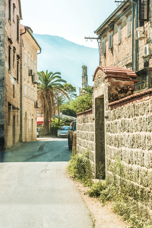 Street of the old city of Perast in Kotor Bay, Montenegro. The old part of the city. Stock Photo