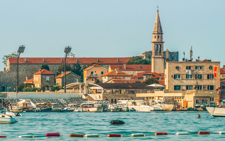 View of the old town from the side of Budva, Montenegro. Budva is one of the best preserved medieval cities in the Mediterranean and most popular resorts. Stock Photo