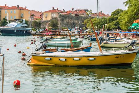 Budva, Montenegro - August 28, 2017: Marina for sailing yachts and boats overlooking the old town off the coast of Budva, Budva Riviera. Editorial