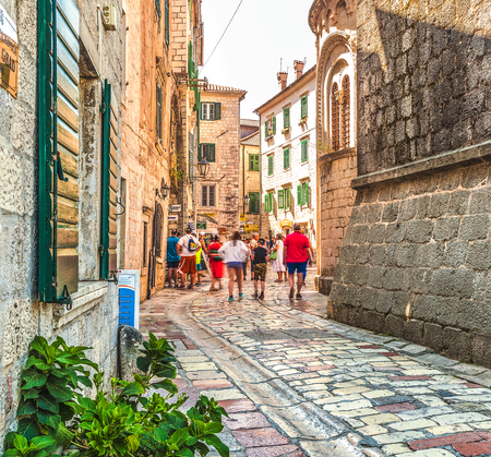Kotor, Montenegro - August 24, 2017: A street of the Old Town of Kotor. The old part of Kotor is a UNESCO World Heritage Site.