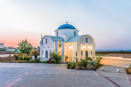 The multi Denominational Church of St Nicholas on a shore closeup in Paphos, Cyprus.