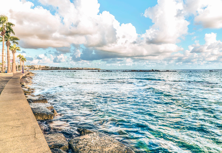 View of the embankment in the harbor of Paphos, Cyprus Stock Photo