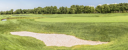Panorama of a fragment of a golf course in Mezhigirje near Kiev, Ukraine.