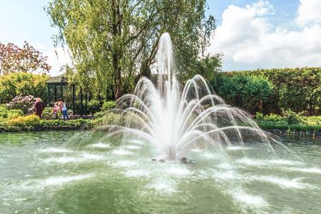 Fragment of the park in Mezhigiri near Kiev. A small fountain on the lake. The flowering bush of the rhododendron, a fragment of the lake and a beautiful gazebo.