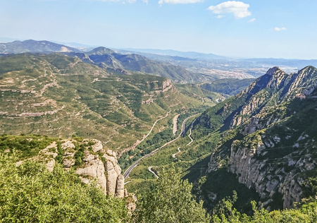 View down from the mountain of Montserrat. Location: 50 km from Barcelona, Spain. 版權商用圖片