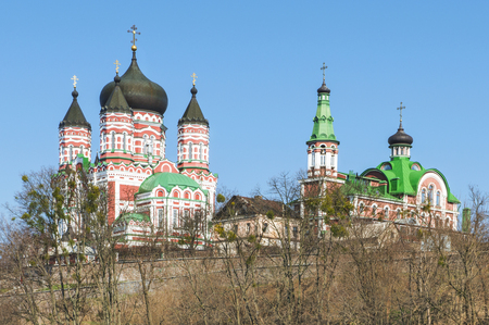 View of the church building. St. Panteleimon Cathedral - an Orthodox cathedral in the Kiev Feofaniya suburbs. The main temple Panteleimon Monastery.