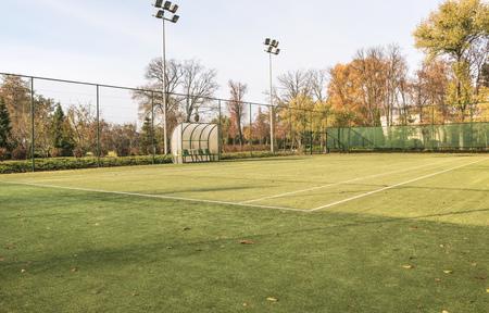 Tennis court in the landscaped park. Stok Fotoğraf