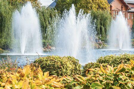 A fragment of the autumn park in Mezhyhirya near Kiev, Ukraine, fountains on the lake. Scenery of nature with sunlight. 版權商用圖片