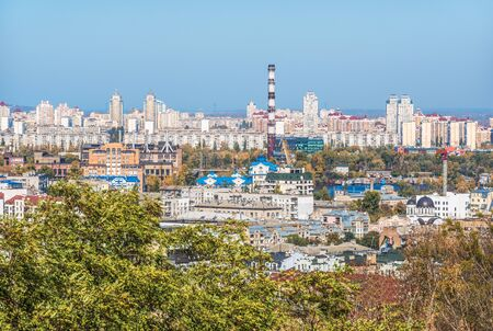 Cityscape of Kiev, Ukraine. View of apartment buildings on the right bank of the Dnieper in Podil and Obolon. Stock Photo