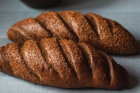 Loaf of rye bread close-up