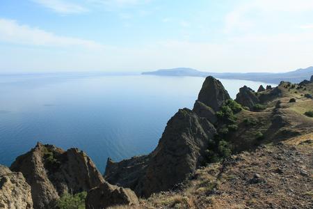 The extinct volcano Kara-Dag. Picturesque landscape. Crimea. Stock Photo