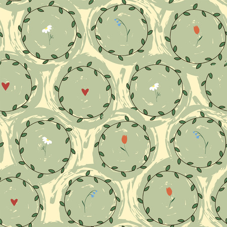 Floral seamless pattern with circles and hearts.