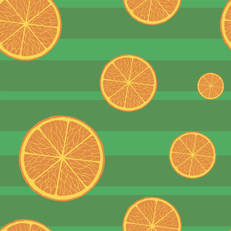 A Seamless pattern with oranges on a green background. Vector. Vectores
