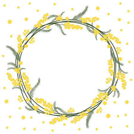 Spring floral round frame with yellow mimosa Vector. Illustration